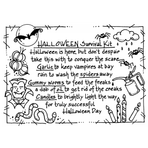 Carolee Jones Cling Mount Stamp - Halloween Survival Kit AGC1-2465
