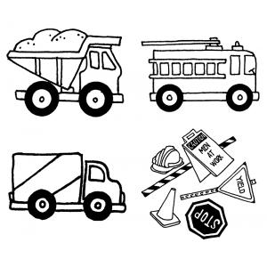 Carolee Jones Cling Mount Stamp Set - Trucks L-2225