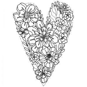 Catherine Scanlon Cling Mount Stamp - Heart Flower AGC2-2822
