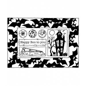 Darby New Cling Mount Stamp: Batty Frame RX3-2127