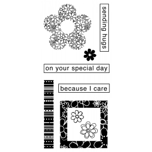 J. Clare Clear Stamps: Sending Hugs / Fun Flowers Collage Abilities LC-2423