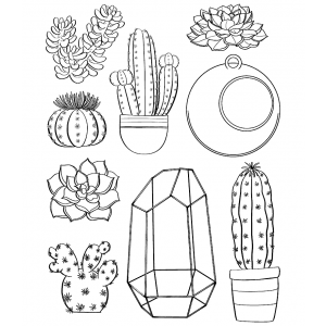 Nicole Tamarin Cling Mount Stamp Set - Succulents NT-024
