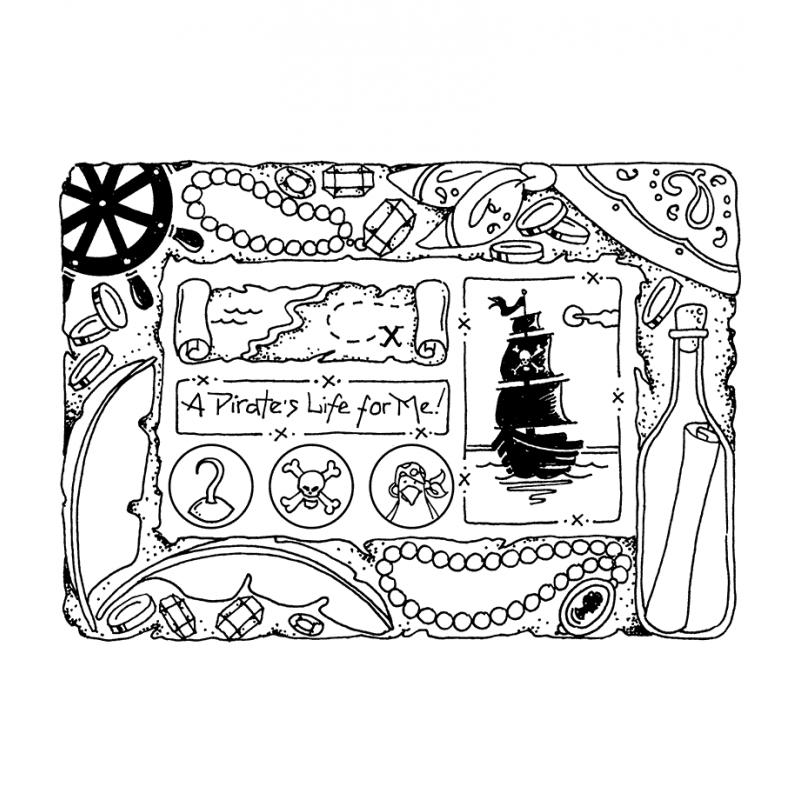 Carolee Jones Cling Mount Stamp: Pirate Frame RX3-2217
