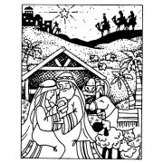 Carolee Jones Cling Mount Stamp - Nativity Scene AGC1-2593