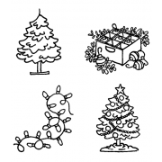 Carolee Jones Cling Mount Stamp Set - Decorate Tree L-2723