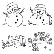 Carolee Jones Cling Mount Stamp Set - Melty Snowman L-1038