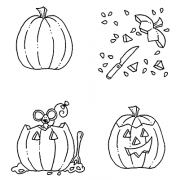 Carolee Jones Cling Mount Stamp Set - Carving a Pumpkin L-1976