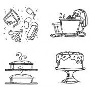 Carolee Jones Cling Mount Stamp Set - Making A Cake L-1977
