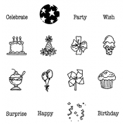 Carolee Jones Clear Stamps: Birthday & Sweets Little Pics SC-2442