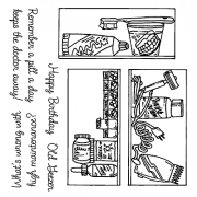 Carolee Jones Clear Stamps: Old Geezer Cluttered Cabinets SC-2450