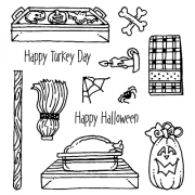 Carolee Jones Clear Stamps: Halloween & Thanksgiving What's Cookin' SC-2456