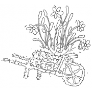 Michelle Masters Wood Mounted Stamp - Wheelbarrow H2-2640
