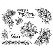 Nicole Tamarin Cling Mount Stamp Set - Poinsettia NT-013