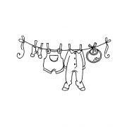Carolee Jones Wood Mounted Stamp - Baby Clothesline J2-977