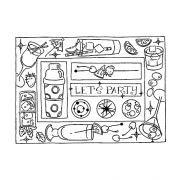 Darby New Cling Mount Stamp: Let's Party Frame RX3-2129