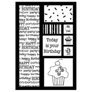 J. Clare Cling Mount Stamp - Happy Birthday Cutts Apart AGC3-2495