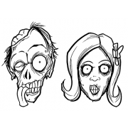 Len Peralta Cling Mount Stamps - Zombie Heads L-2662