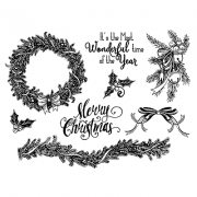 Nicole Tamarin Cling Mount Stamp Set - Holiday Greenery NT-011