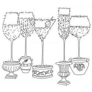 Michelle Masters Cling Mount Stamp - Stemware Topiary AGC1-2644