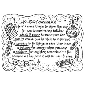 Carolee Jones Cling Mount Stamp - Holiday Survival Kit AGC1-2466