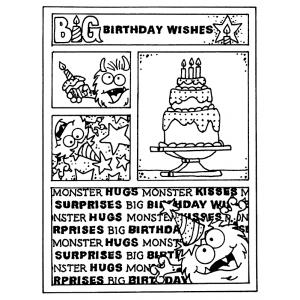 Carolee Jones Cling Mount Stamp - Monster Birthday Mini Frame AGC2-105