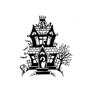 Carolee Jones Wood Mounted Stamp - Haunted House J1-975