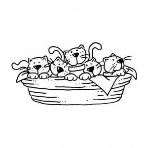 Carolee Jones Wood Mounted Stamp - Kitty Basket K5-2054