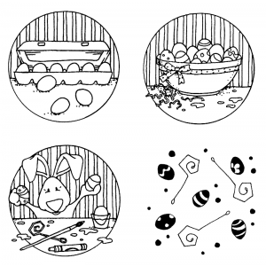 Carolee Jones Cling Mount Stamp Set - Let's Color Eggs L-2089