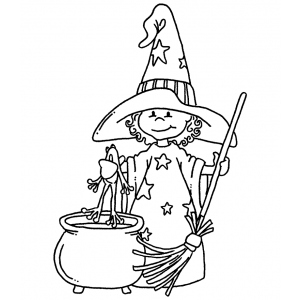 Carolee Jones Wood Mounted Stamp - Witch's Brew M1-2126
