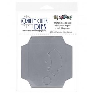 Crafty Cutts Dies, Spinner Wheel Pocket, CCD-067, spinner card metal die
