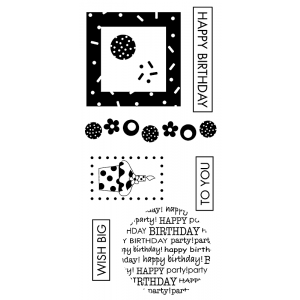 J. Clare Clear Stamps: Happy Birthday / Confetti Cupcake Collage Abilities LC-2422