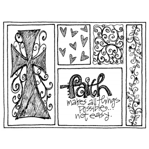 Joanne Sharpe Cling Mount Stamp - Faith Mini Frame AGC2-754