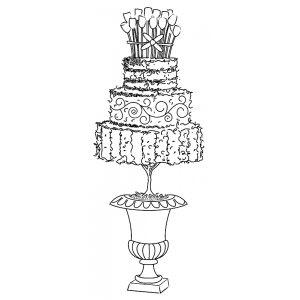 Michelle Masters Wood Mounted Stamp - Birthday Cake E2-2605