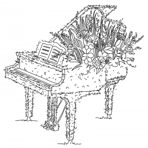 Michelle Masters Wood Mounted Stamp - Piano H2-2602