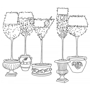 Michelle Masters Wood Mounted Stamp - Stemware Topiary H2-2639