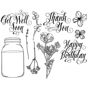 Nicole Tamarin Cling Mount Stamp Set - Canning Jar Messages NT-004