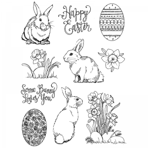 Nicole Tamarin Cling Mount Stamp Set - Daffodil Bunnies NT-019