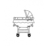 Carolee Jones Wood Mounted Stamp - Baby Carriage H1-528