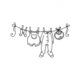 Carolee Jones Wood Mounted Stamp - Baby Clothesline J2-977