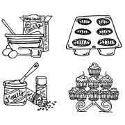Carolee Jones Cling Mount Stamp Set - Making Cupcakes L-2722