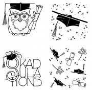 Carolee Jones Cling Mount Stamp Set - Graduation L-2221