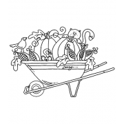 Carolee Jones Wood Mounted Stamp - Wheelbarrow Friends M3-1969
