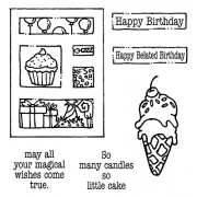 Carolee Jones Clear Stamps: Happy Birthday Tiny Cutts SC-2535