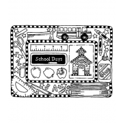 Carolee Jones Cling Mount Stamp: School Days Frame RX3-2364