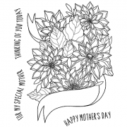 Catherine Scanlon Cling Mount Stamp Set - Mother's Day Pennant CSCS-2834