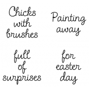 Cling Mount Set - Chicks With Brushes M-1107