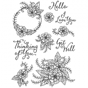 Nicole Tamarin Cling Mount Stamp Set - Floral Greetings NT-017