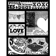 Suzanne Carillo Single Cling Mount Stamp - Pugs and Kisses AGC2-2715