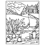 Carolee Jones Cling Mount Stamp - Fishing Scene AGC1-1062
