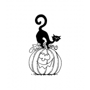 Carolee Jones Wood Mounted Stamp - Cat & Pumpkin G2-957